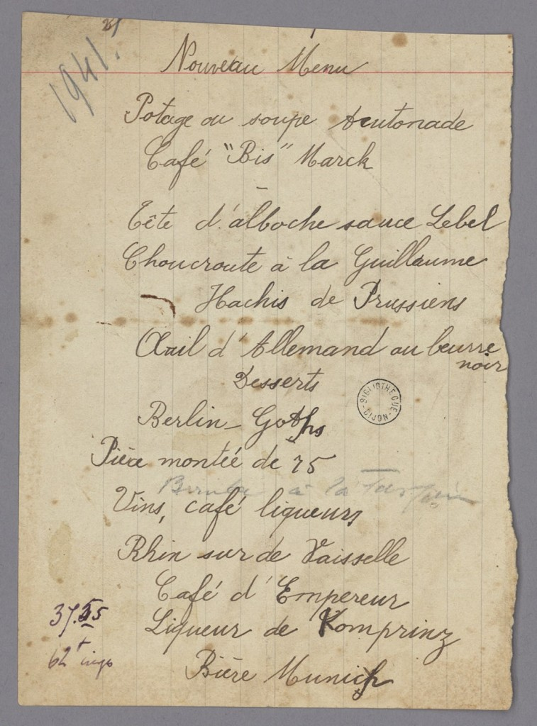 Menu «anti-allemands»: Menu manuscrit de 1941 (Fonds Reinert)