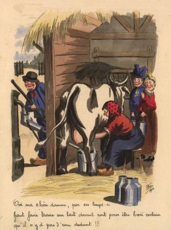 Caricature d'Emile Keym illustrant le coupage du lait avec de l'eau. ©Archives de la Ville de Bruxelles