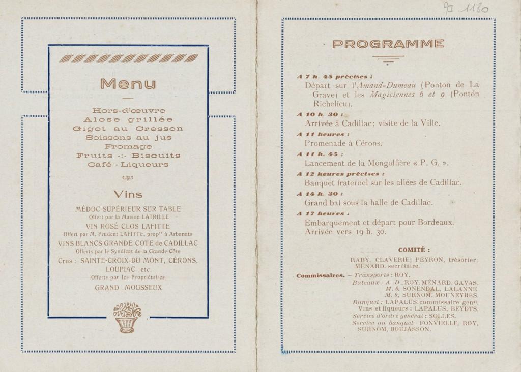 Banquet fraternel de l'Excursion à Cérons-Cadillac organisée par l'Amicale du Personnel de La Petite Gironde. Cadillac.