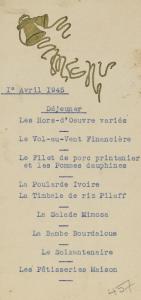 Menu de Pâques, 1er evril 1945, BMD, cote : M II-1518