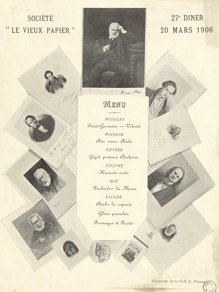Menu du 27ème dîner: 20 mars 1906