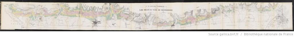 """Plan statistique des vignobles produisant les grands vins de Bourgogne..., Casper et Marc, 1861, dit """"plan de 1860"""""""