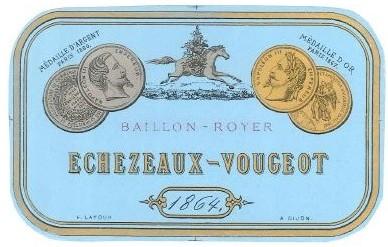 etiquette Echezeaux-Vougeot 1864, Est. 1058