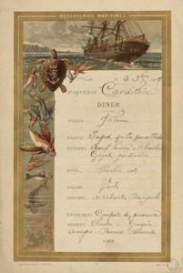 Menu du dîner du 5 novembre 1897 sur le paquebot Cordillière, M III 707
