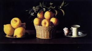 Zurbaran, Nature morte aux citrons, oranges et une rose