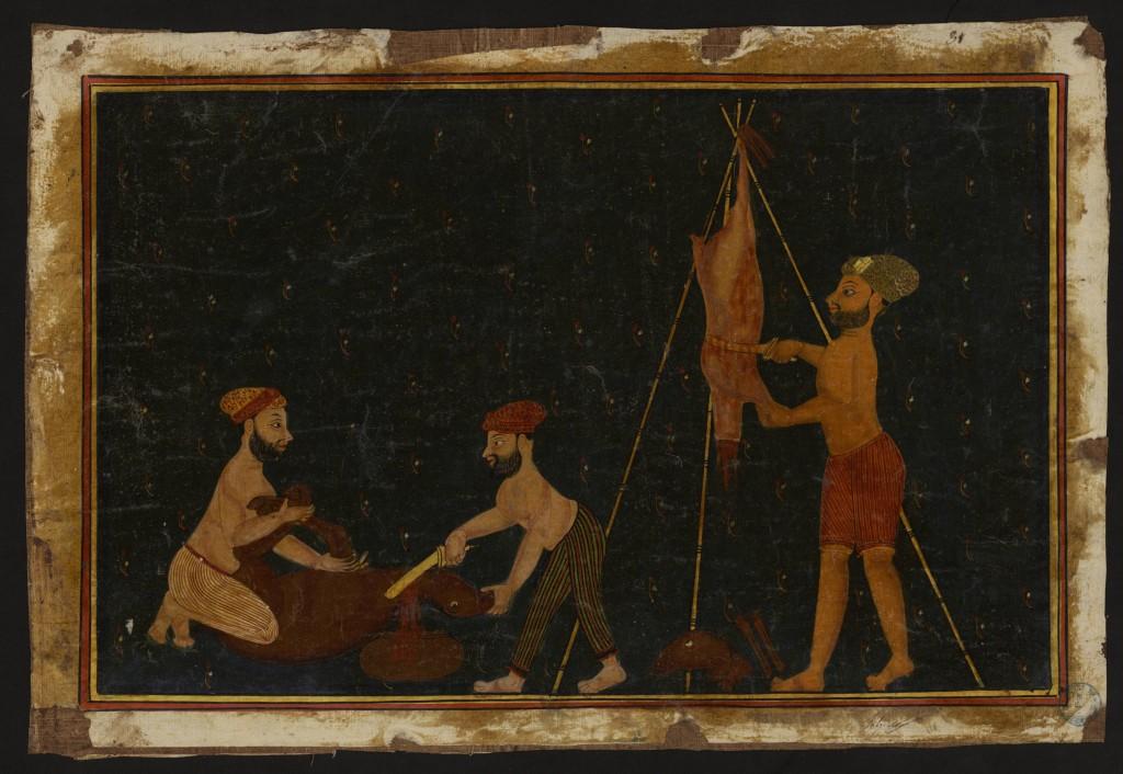 Peintures indiennes autour des métiers;Trois hommes depeçant un animal
