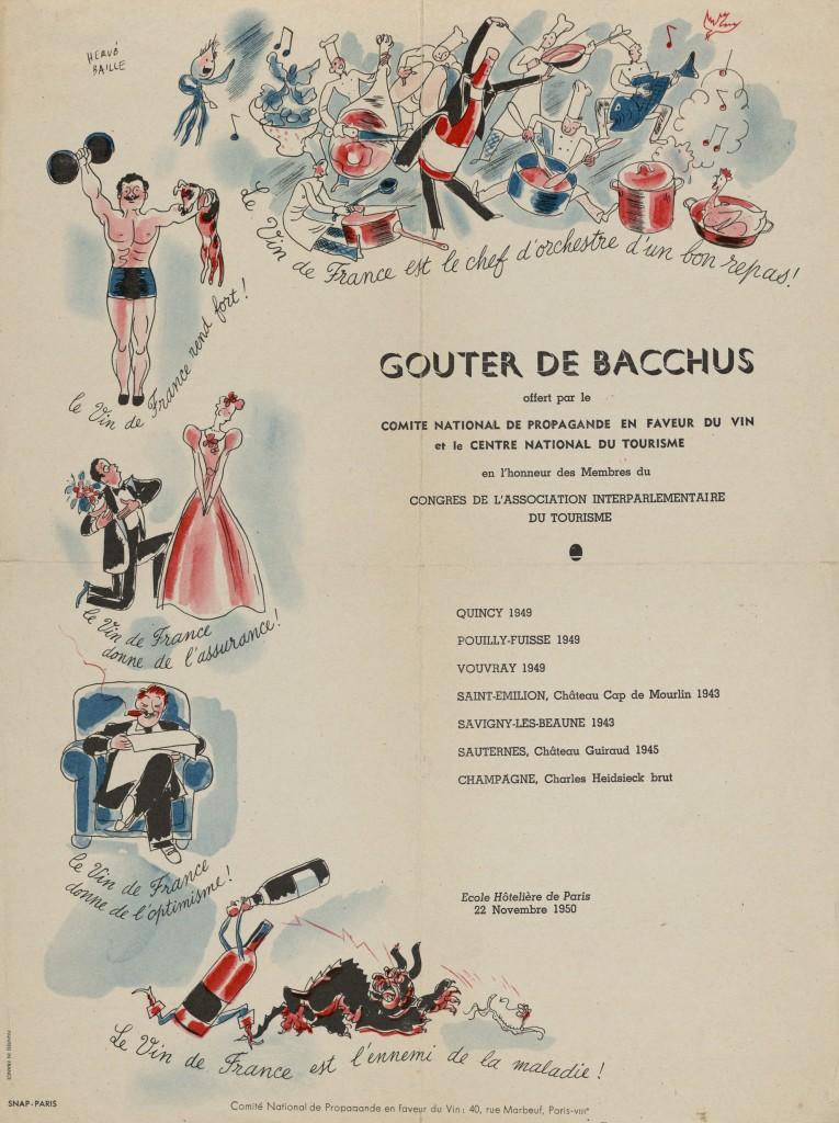 Gouter de Bacchus offert par le Comité National de Propagande en Faveur du Vin et le Centre National du Tourisme, en l'honneur des Membres du Congrès de l'Association Interparlementaire du Tourisme. École Hôtelière de Paris.