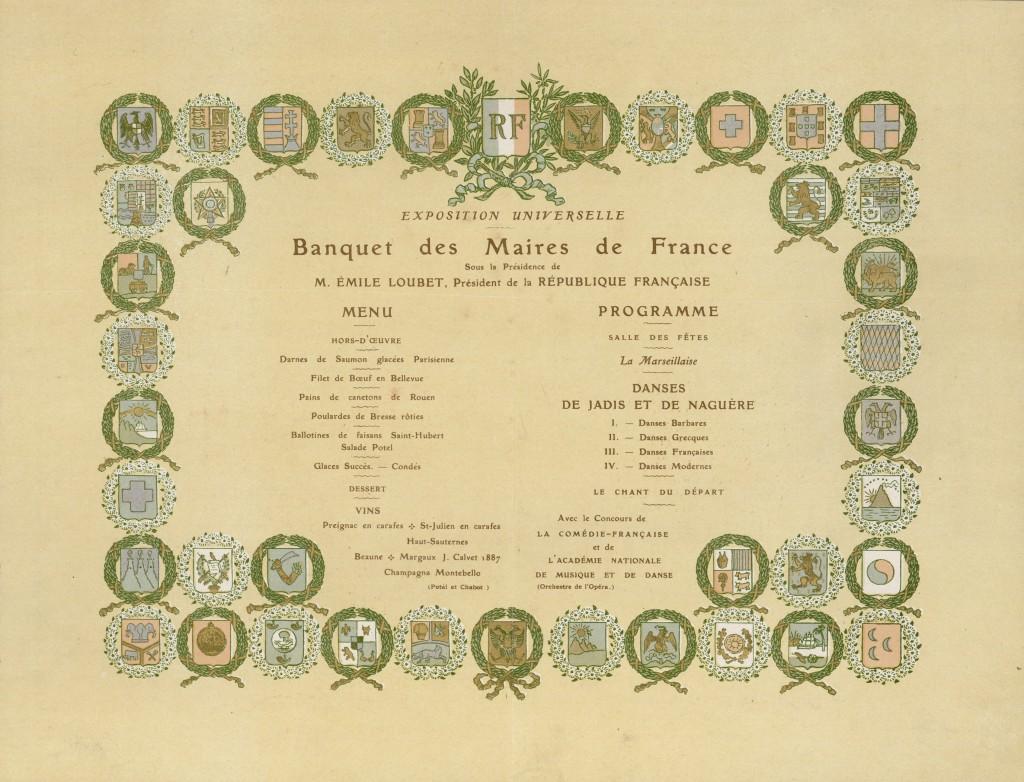 Menu du Banquet des Maires de France, à l'occasion de l'Exposition Universelle : 22 septembre 1900