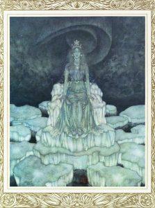 L'illustration de la Reine des Neiges par Edmond Dulac en 1911, dans La Reine des Neiges et quelques autres contes, Paris, Henri Piazza, figure glacée et hiératique trônant sur sa banquise. Nous sommes à la fin du conte, au moment où Gerda retrouve son ami Kay au royaume de la Reine.