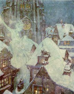 L'illustration d'Edmond Dulac en 1911, pour La Reine des Neiges et quelques autres contes, Paris, Henri Piazza.